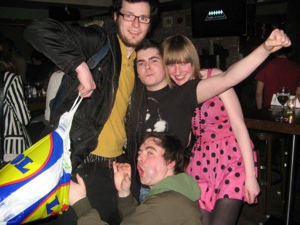 The original line up of Rural Savage. Paul McConalogue, Mosey Byrne, Laura Kelly and Farren Jecky. Laura was instrumental in the development of the band. That Lidl bag was probably filled with Buckfast.